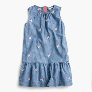 Crewcuts Girls Chambray Dress with Unicorns